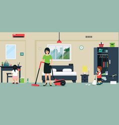 clean the room vector image
