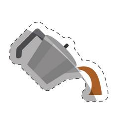 Coffee pot handle cut line vector