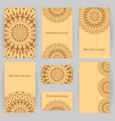 Collection of templates with mandalas vector