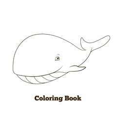 Coloring book whale cartoon educational vector image