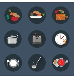 Cooking process icon set vector image