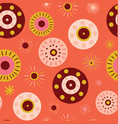 Coral abstract background circles collage style vector