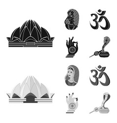 Country india blackmonochrom icons in set vector