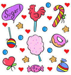 Doodle of food sweet candy style vector
