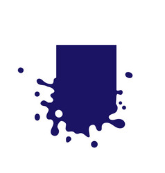 Dripping square dark blue icon liquid paint flows vector