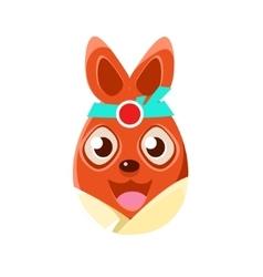 Easter Egg Shaped Orange Easter Bunny In Kimono vector