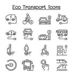 eco transport icon set in thin linestyle vector image
