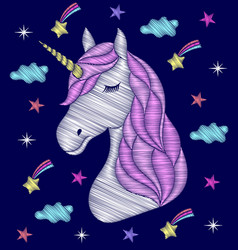 Embroidery design of unicorn vector