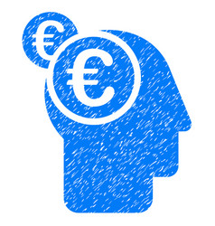 Euro businessman intellect icon grunge watermark vector