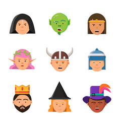 fantasy game avatars fairy tale characters elf vector image