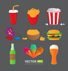 Fast food icons isolated on gray background vector