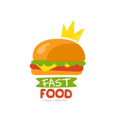 fast food logo design burger sign with crown vector image vector image