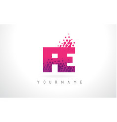 Fe f e letter logo with pink purple color and vector