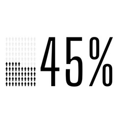 Forty five percent people chart graphic 45 vector