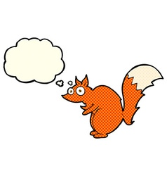 funny startled squirrel cartoon with thought vector image