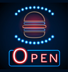 glowing neon open signs vector image