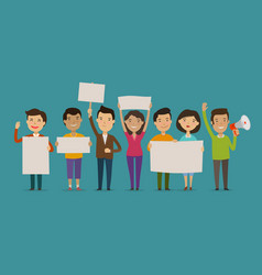 Group of people or crowd cheers carrying signs vector