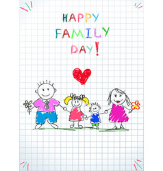 happy family day kids doodle picture parents vector image