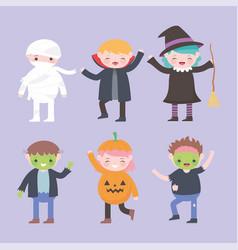 happy halloween costume characters group kids vector image