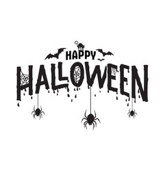 happy halloween typography spooky text vector image