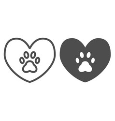 Heart with dog paw line and glyph icon heart and vector