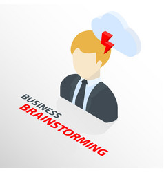 Isometric businessman on suit with cloud and arrow vector