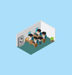 Isometric manager guide his team to do a good work vector