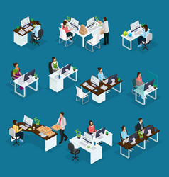 Isometric professional support workers set vector