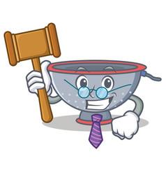 Judge colander utensil character cartoon vector