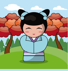 Kokeshi doll japanese landscape image vector