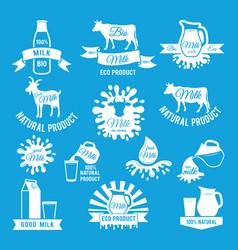 Labels set of fresh milk for vector