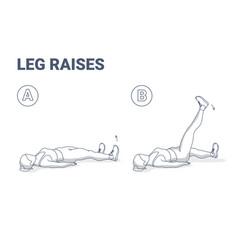 Leg raise home workout female exercise guidance vector
