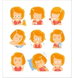 Little Red Head Girl Cute Portrait Icons vector