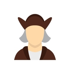 Man wearing in Christopher Columbus costume icon vector