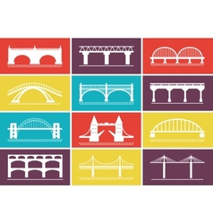 Modern Bridge Icons on Colorful Background Designs vector image