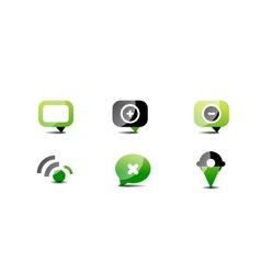 Modern web green black icon set vector image