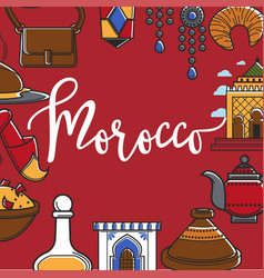 morocco promo poster with country symbols around vector image