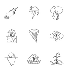 Natural disasters icons set outline style vector image