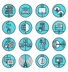 Network icons set blue line vector image vector image