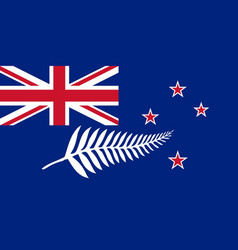 New zealand flag with silver fern vector