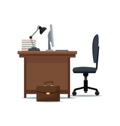 office desk chair computer lamp books suitcase vector image