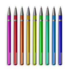 pen stationery set office writing metal vector image