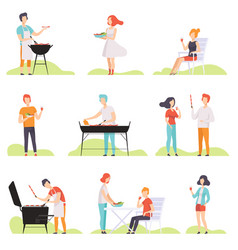 People grilling barbecue on a grill men and women vector