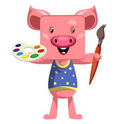 pig with paintbrush on white background vector image