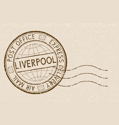 Postal stamp round brown express delivery vector