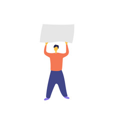 Protester man with blank placard male activist vector