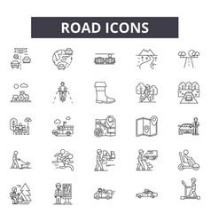 road line icons signs set outline vector image