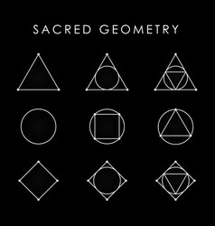 Sacred geometry white symbol set triangle circle vector