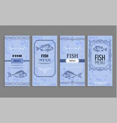 Samples fish menu templates decorative frames vector