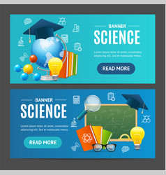 Science banner horizontal set vector